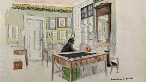 1841. Herman (Friedrich) Grimm (1828-1901). Wilhelm Grimm's study, water color and pencil, Germany © Stadt Kassel, holdings of the Grimm Collection. Inventory number 885