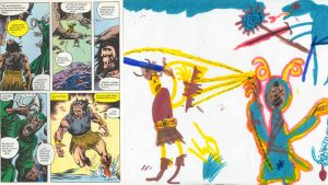 "Filzstiftzeichnung zum Comic Conan der Barbar (1983), DIN A3, 1983 (Junge, 5 Jahre) / felt pen drawing inspired by cartoon ""Conan the Barbarian"" (1983), DIN A3, 1983 (boy, age 5)"