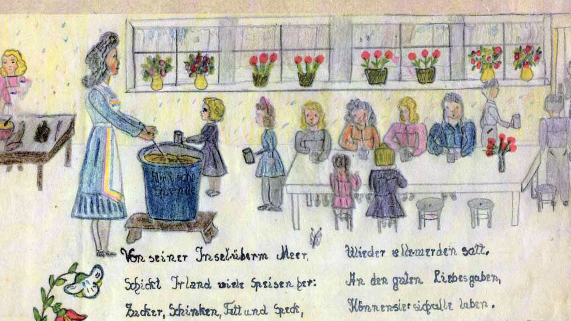 "1946, School meal, Page 7 in the ""Danke-Buch"" /Thank You Book for Irish Food Aid, Anita Reinhardt (11 Years), Saarbrucken, Germany ©Tony O´Herlihy"