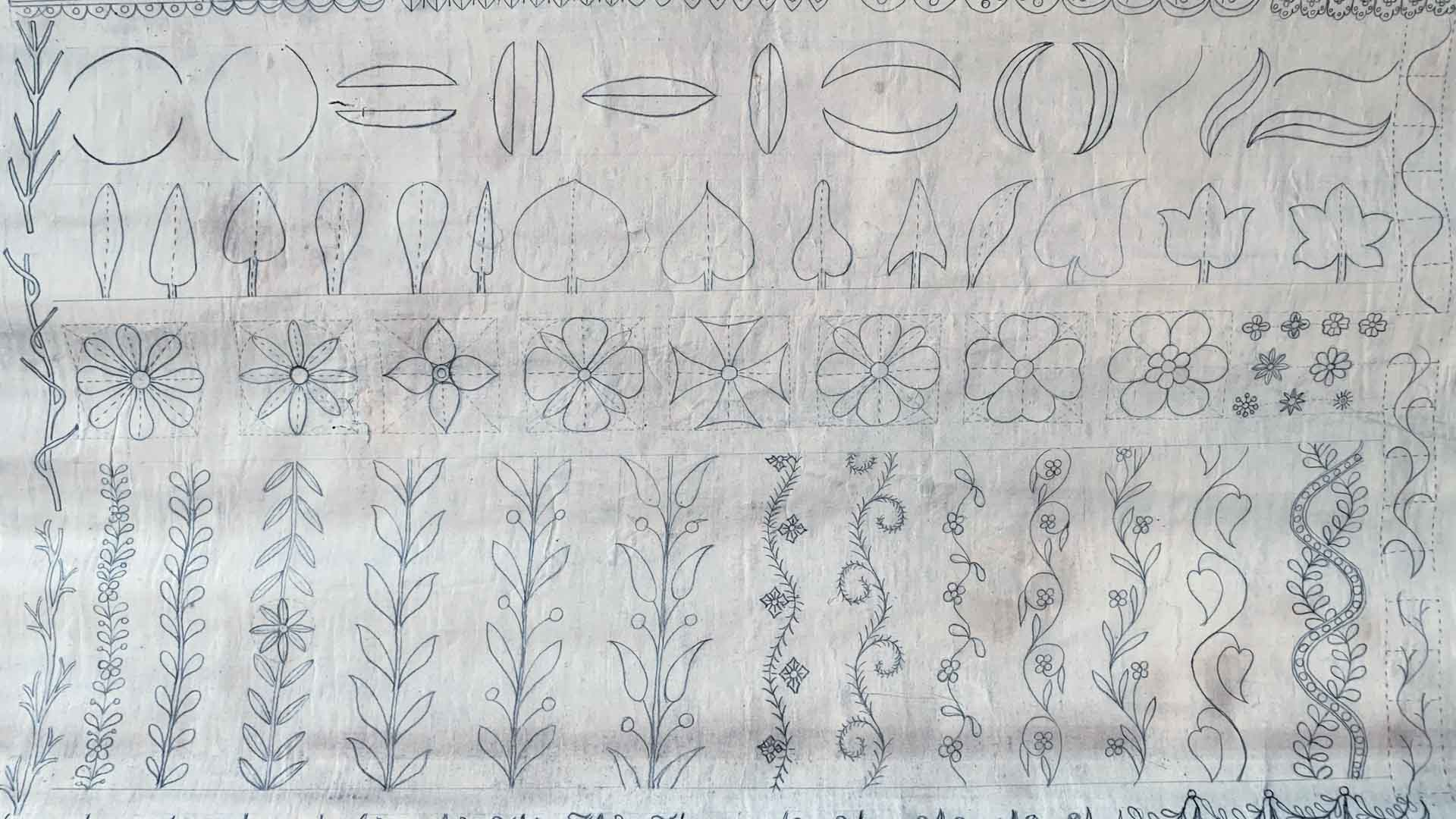 1890, Embellishments and Ornaments, School blackboard for drawing exercises © Ströter-Bender Collection