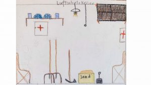 1940, School Drawing: Bomb Shelter, Boy (10 Years) ©Ströter-Bender Collection